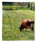 Cow Grazing In Pasture Fleece Blanket