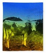 Cow On Lsd Fleece Blanket