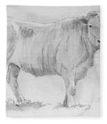 Cow Pencil Drawing Fleece Blanket