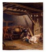 Cow Shed Fleece Blanket