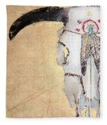 Cow Skull In Yellow Fleece Blanket