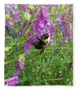 Cow Vetch Wildflowers And Bumble Bee Fleece Blanket