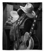 Cowboy Acoustic Guitar Fleece Blanket