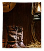 Cowboy Boots At The Ranch Fleece Blanket