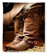 Cowboy Boots In  A Ranch Barn Fleece Blanket