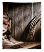Cowboy Boots In Old Barn Fleece Blanket