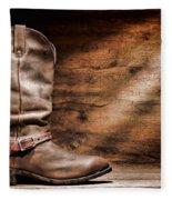 Cowboy Boots On Wood Floor Fleece Blanket