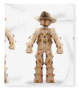 Cowboy Box Characters On White Fleece Blanket