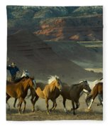 Cowboy Driving Horses Fleece Blanket