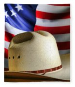 Cowboy Hat And American Flag Fleece Blanket