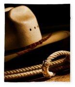 Cowboy Hat And Lasso Fleece Blanket