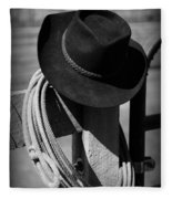 Cowboy Hat On Fence Post In Black And White Fleece Blanket