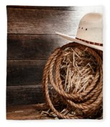 Cowboy Hat On Hay Bale Fleece Blanket