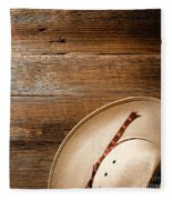 Cowboy Hat On Wood Fleece Blanket