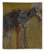 Cowboy In The Badlands Fleece Blanket
