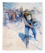 Cowboy Roping Wild Horses Fleece Blanket
