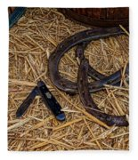 Cowboy Theme - Horseshoes And Whittling Knife Fleece Blanket