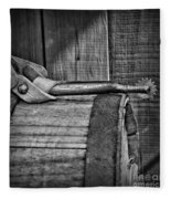 Cowboy Themed Wood Barrel And Spur In Black And White Fleece Blanket