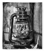 Cowboy Themed Wood Barrels And Lantern In Black And White Fleece Blanket