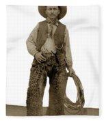Cowboy With Woolies Cowboy Hat 1900 Fleece Blanket