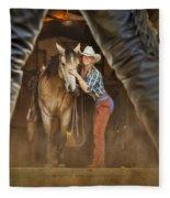 Cowgirl And Cowboy Fleece Blanket