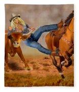 Cowgirl Steer Wrestling Fleece Blanket