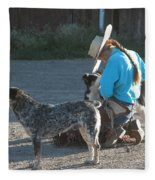 Cowgirl With Her Dogs Fleece Blanket