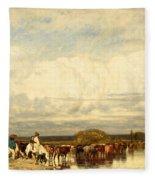 Cows Crossing A Ford Fleece Blanket