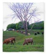 Cows In Rolling Hills Fleece Blanket