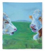 Cows Lying Down Chatting Fleece Blanket