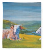 Cows Lying Down Painting Fleece Blanket