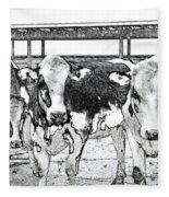 Cows Pencil Sketch Fleece Blanket