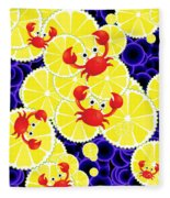 Crabs On Lemon Fleece Blanket