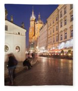Cracow By Night In Poland Fleece Blanket