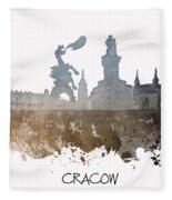 Cracow City Skyline Fleece Blanket