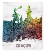 Cracow City Skyline Map Fleece Blanket