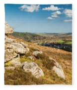 Crags Over Rothbury Fleece Blanket