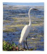 Crane At Pond Fleece Blanket