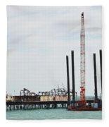 Crane Barge At Hastings Pier Fleece Blanket