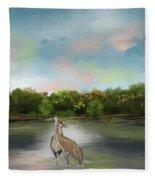 Crane Habitat Fleece Blanket
