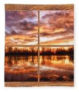 Crane Hollow Sunrise Barn Wood Picture Window Frame View Fleece Blanket