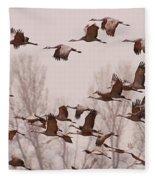 Cranes Across The Sky Fleece Blanket