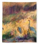 Cranes In The Grain Fleece Blanket