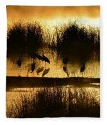 Cranes On Golden Pond Fleece Blanket