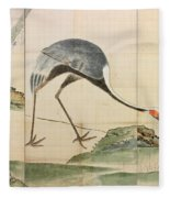 Cranes Pines And Bamboo Fleece Blanket
