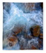 Crashing Falls On Rocks Below Fleece Blanket