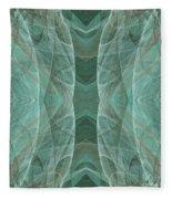 Crashing Waves Of Green 4 - Square - Abstract - Fractal Art Fleece Blanket