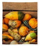 Crate Filled With Pumpkins And Gourts Fleece Blanket