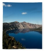 Crater Lake And Boat Fleece Blanket