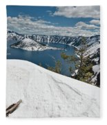 Crater Lake And Wizard Island In June Fleece Blanket